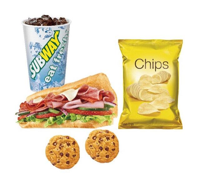 赛百味优惠促销,任意一款三明治加9元可组成薯片饮料套餐