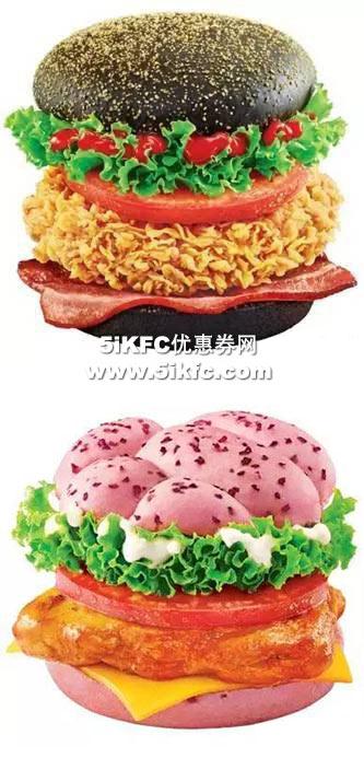 肯德基黑钻培根鸡腿堡,玫瑰芝士烤鸡腿堡